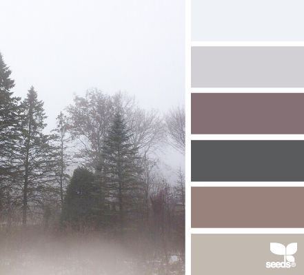 Foggy hues create a sense of calm, as if beckoning the world to slow down and curl up with a good book.  Mellow a vibrant room with this color scheme.