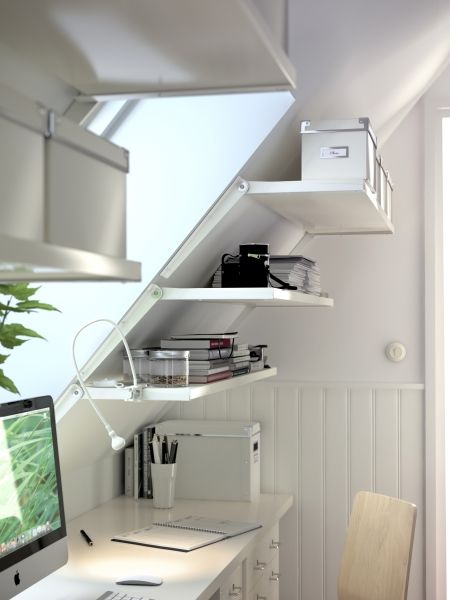 Storage doesn't just happen on vertical and horizontal services. The EKBY RISET angled wall bracket lets you create storage under stairs and dormers.