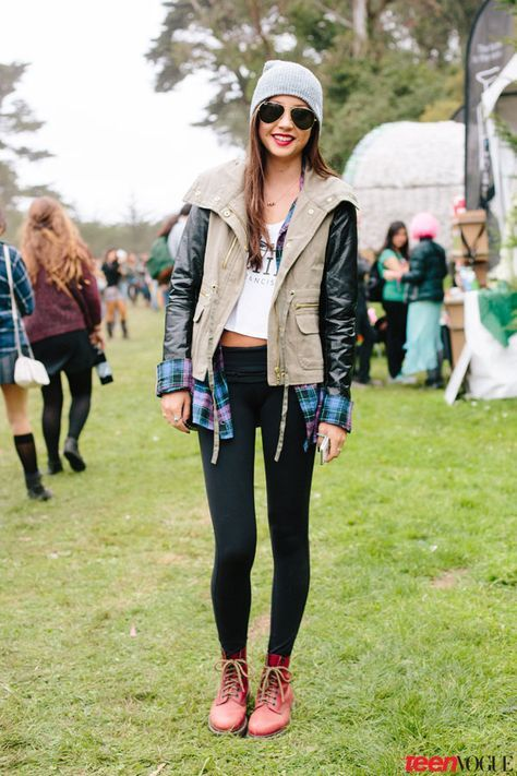 San Francisco Shows off Festival Style (with a Chilly Twist!) at Outside Lands; Red boots + a two-tone jacket = totally rad.