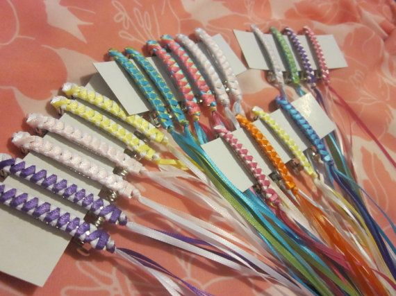 Fun Party Pack 6 Retro Braided Ribbon Barrettes in YOUR CHOICE of Assorted Colors on Etsy, $13.80