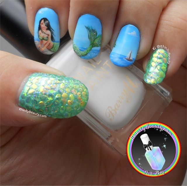 Ithinity Beauty - Nail Art Blog: Freehand Mermaid Nail Art With Fish Scale Hexagon Sequins - BeautyBigBang Review https://beautybigbang.com/collections/sample-collection/products/fish-scale-nail-sequins-mermaid-hexagon-glitter-sheets-manicure-nail-art-tips-decorations
