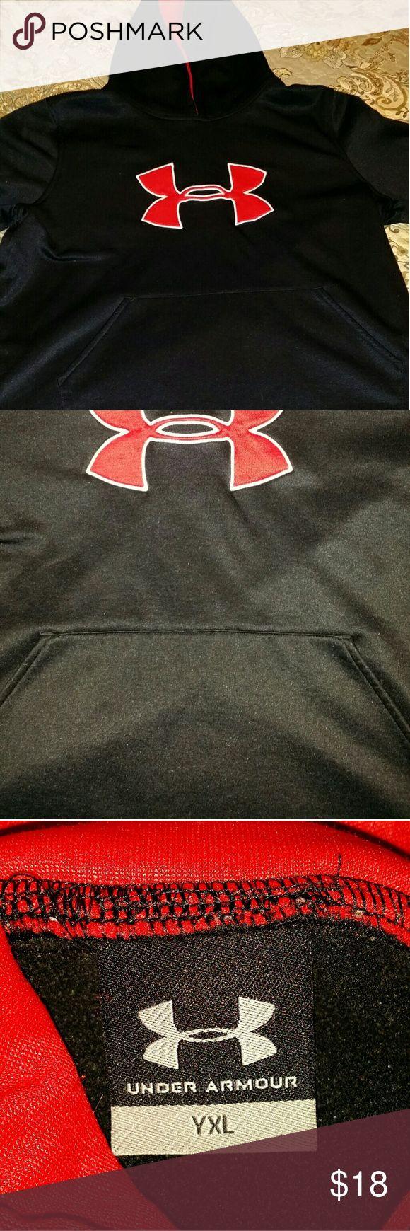 Youth Under Armour hooded sweat top Black n Red Under Armour hooded sweat top YXL Under Armour Shirts & Tops Sweatshirts & Hoodies