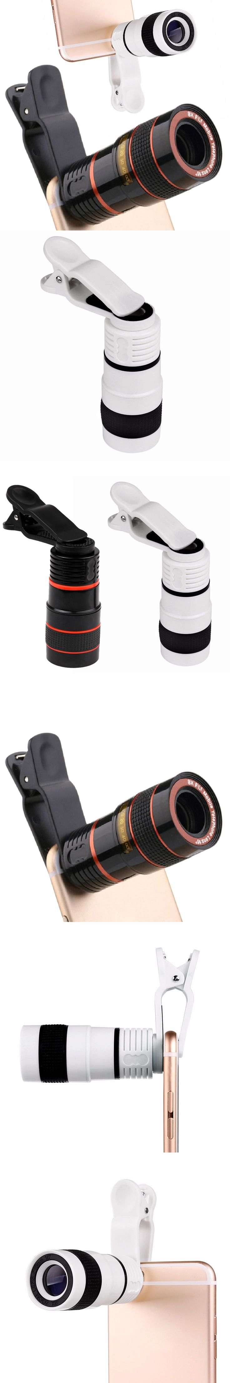 Universal Outdoors 8X Zoom Telescope Phone Camera Lens with Clip for iPhone Samsung HTC Huawei Xiaomi Other Mobile Phones