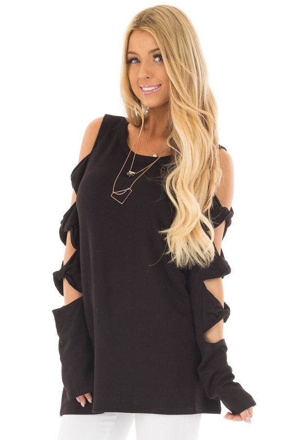 5e24601f485 Black Cold Shoulder Top with Twisted Ladder Sleeves