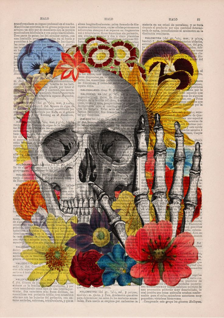 Collage Vintage: Spring Sale Skull With Flowers Collage Art ,Wall Decor