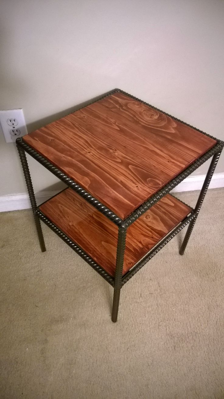 Rebar and pallet wood side table.