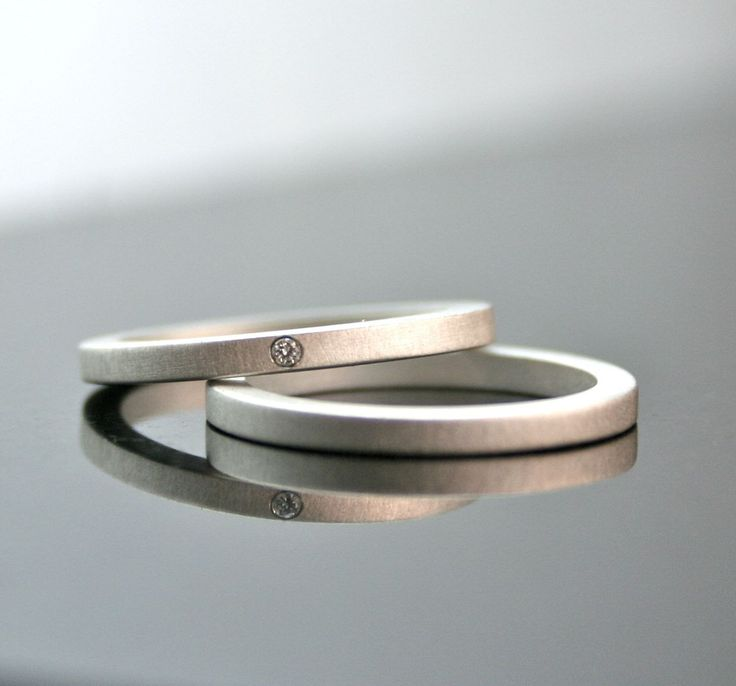 One Tiny Diamond Ring Set - Sterling Silver - Simple Engagement Rings- Wedding Bands - Matte Finish - 2 mm. $195.00, via Etsy.
