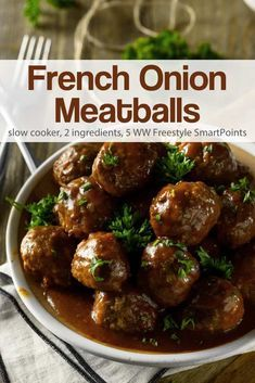 Easy Slow Cooker French Onion Meatballs Recipe Food Recipes French Onion Meatballs Recipe