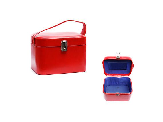 Vintage vanity case, plain red leather imitation train luggage makeup storage bag with top handle and mirror, 1960s travel fashion accessory by Aerosvar