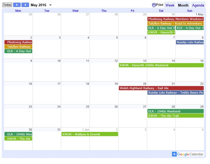 Railway Events Calendar