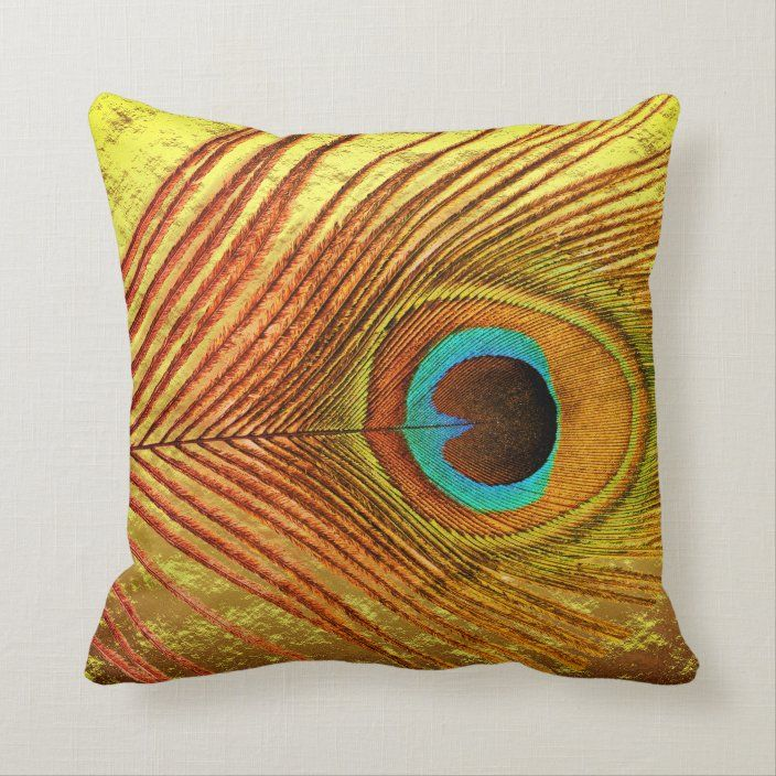 Peacock Feather Blue Artistic Gold Foil Abstract Throw Pillow Zazzle Com Abstract Throw Pillow Throw Pillows Faux Gold Foil