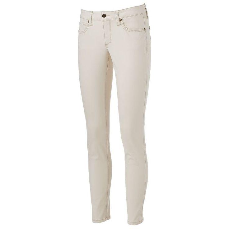 Women's SONOMA Goods for Life™ Curvy Fit Sateen Skinny Pants, Size: 14 Avg/Reg, White Oth