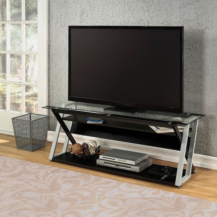 Calico Designs Colorado 56.25 In. Wide X 17.75 In. Deep X 19.75 In. High TV  Stand (Colorado 56 TV Stand Blk / Silver), Black