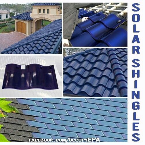 Solar panel shingles, cost about the same as regular shingles but weather proof and saves money on the electric bill