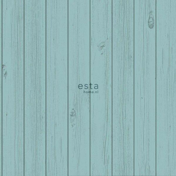 128855 krijtverf vliesbehang smalle houten vintage sloophout planken vergrijsd zee groen turquoise