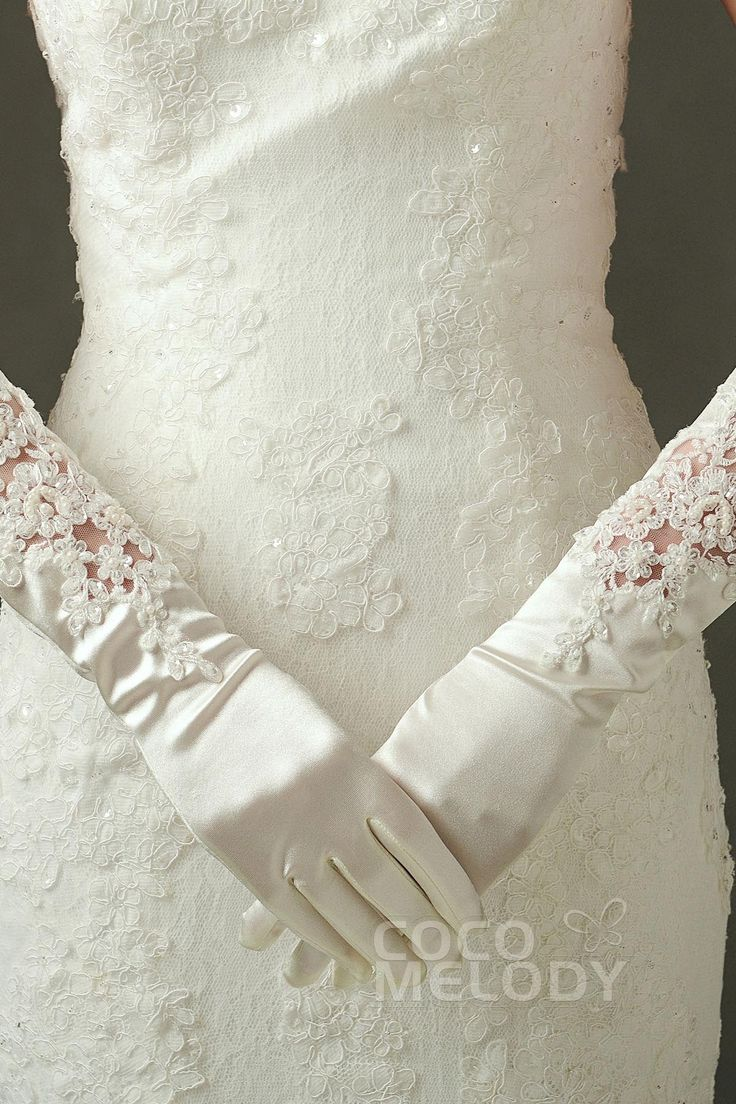 Fingertips Elbow Length Elastic Satin Ivory 38cm Wedding Gloves with Appliques and Beading ST160013#weddinggloves #weddingessentials #weddingaccessories #cocomelody