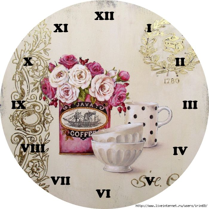Teatime With Flowers Clock Face