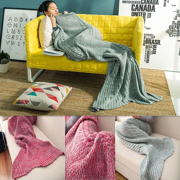 (36.99$)  Watch here  - Cozzy Cotton Knitted Mermaid Tail Blanket Adult Size 80x190cm Teen Size 60x140cm Sofa or Bed Sleeping Bag All Seasons Red / Grey