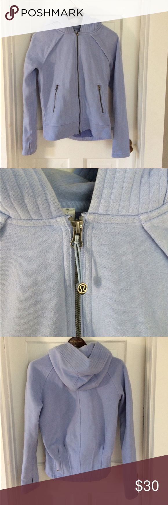 Sz 8 lululemon hoodie blue thumb holes zip blue Sz 8. Minor signs of wear, some wear around thumb holes (pictured) overall nice condition. Thick warm hoodie. lululemon athletica Other
