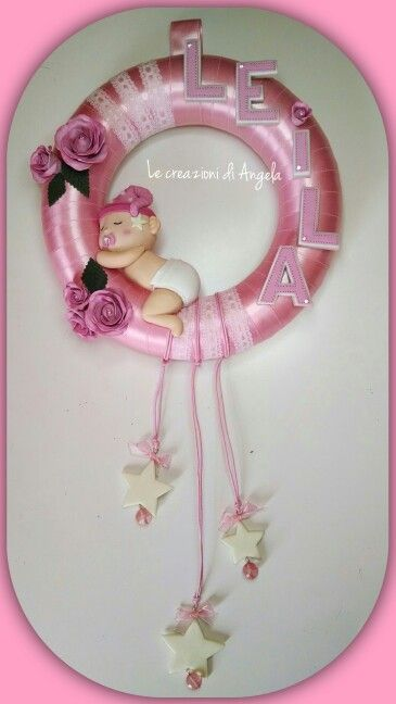 Polymer clay subjects on the birth wreath for a little girl, Leila!! :)