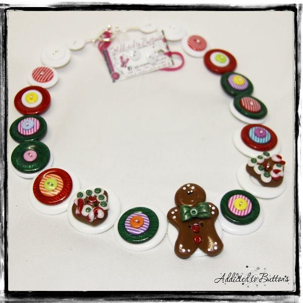 Gingerbread Man © Christmas Button Necklace.  www.addictedtobuttons.com.au