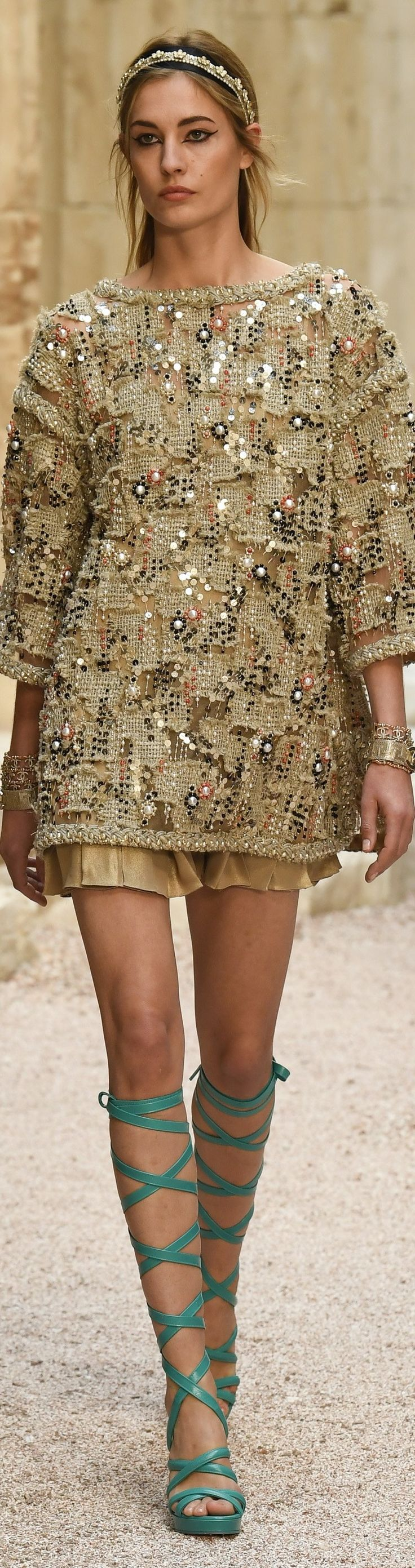 "Chanel Cruise 2018 at the Grand Palais in Paris, ""The Modernity of Antiquity"" inspired by Greece. vogue.com"