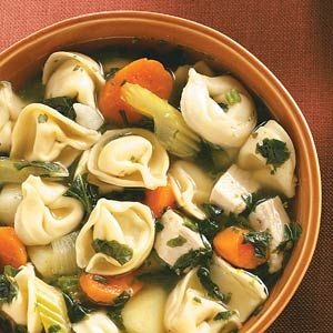 Spinach Tortellini Soup-use chicken broth and tons of extra veggies