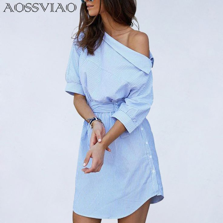 >> Click to Buy << 2017 Fashion one shoulder Blue striped women shirt dress Sexy side split Elegant half sleeve waistband Casual beach dresses #Affiliate