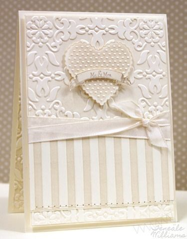 What a beautiful wedding card, and not too complex, really. Looks like shades of cream???