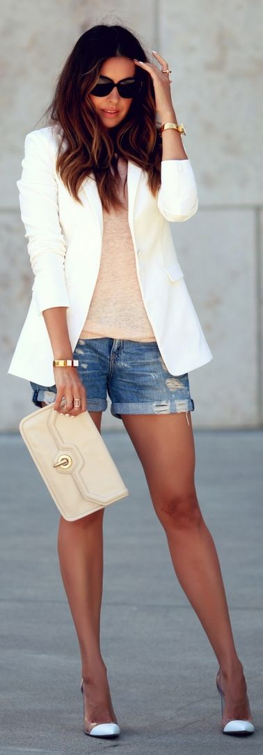 Summer night: nude basic tank & purse, white jacket & heels, denim shorts.