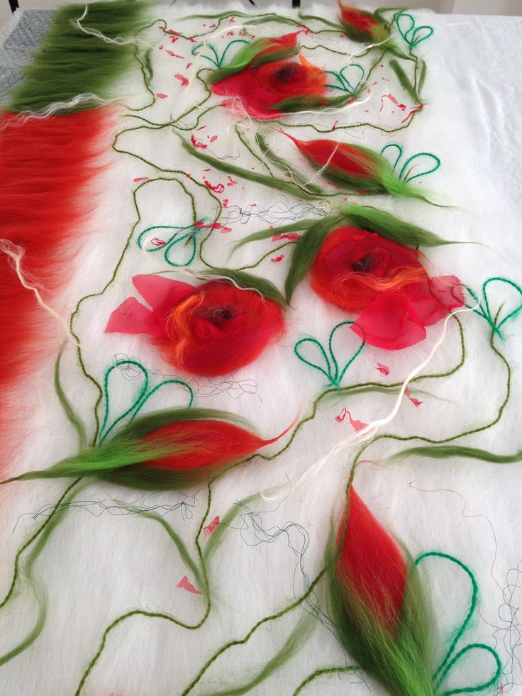 www.nadinsmo.com **POPPIES Always **-Handmade nuno felting from pure merino wool and natural cotton ,chiffon,angora yarn,silk: