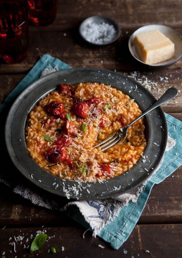 Roasted Tomato Risotto Use veggie stock and skip the parm cheese garnish and this can become #vegan