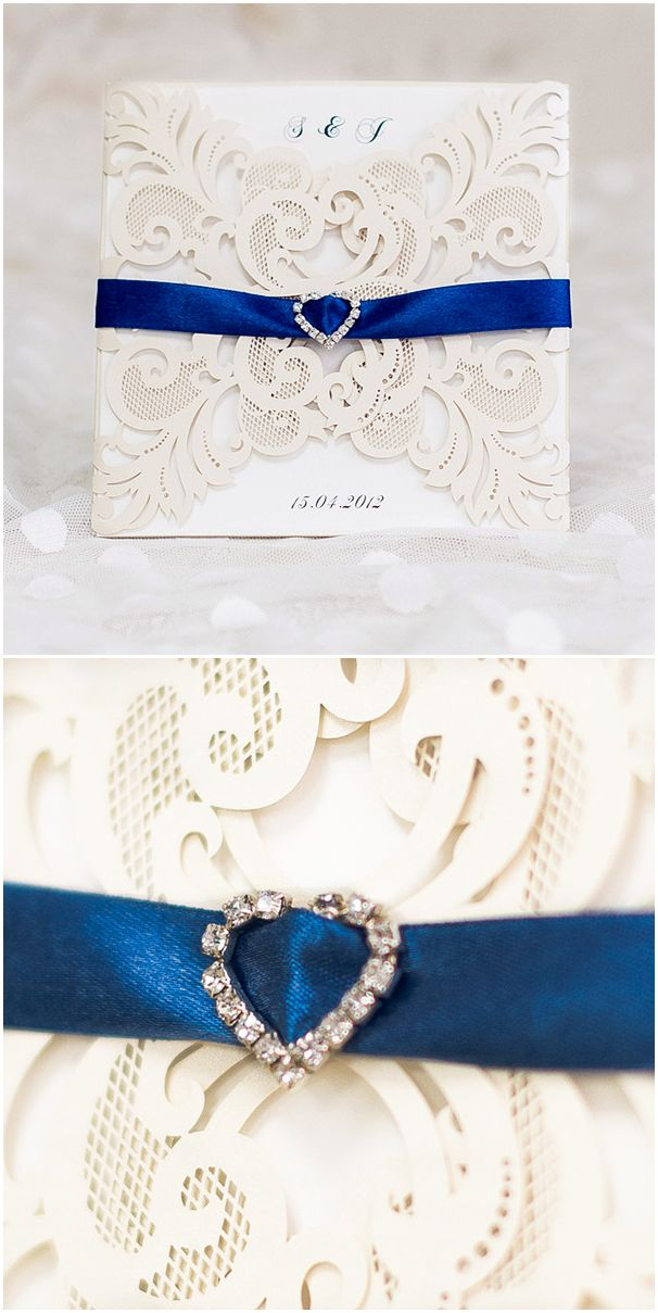 Ivory Laser Cut Elegant Wedding Invitations with Royal Blue Ribbon and Heart Shaped Buckle