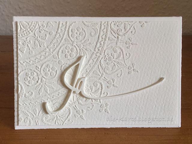 """Die schlichte Karte: Ja Hochzeitskarte, """"Ja"""" Stanze Alexandra Renke, Stencil Mandala"""