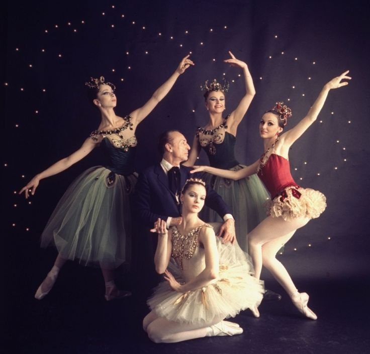 """New York City Ballet - Studio photo of George Balanchine (C) with Patricia McBride in red, Suzanne Farrell in white, Violette Verdy center back and Mimi Paul in """"Jewels"""", choreography by George Balanchine (New York) IMAGE ID: SWOPE_789970"""