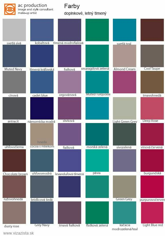 "Palette ""far from face"" with muted cool colours for easy combination for muted summer types. Choose these colours for coats, cardigans, blazers, troussers, skirts, shoes, shoes..."