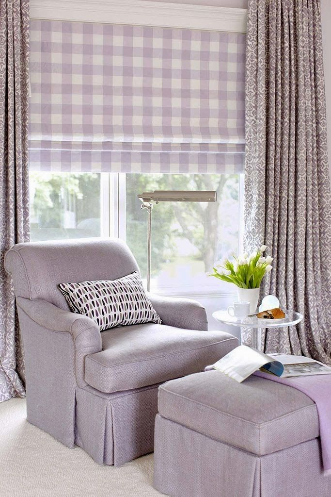 Lavender buffalo check roman shade lucy williams for Interior designs blogs