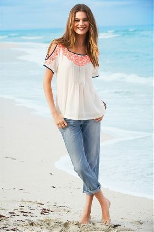 Embroidered Shoulder Top - so nice !