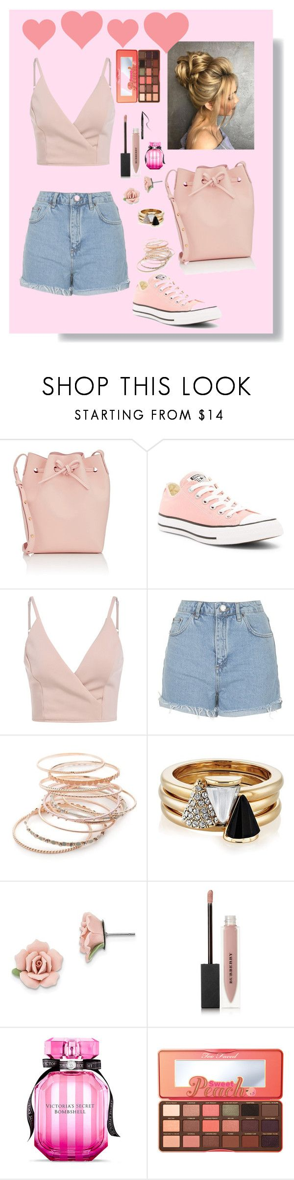 """""""Pinkie peach"""" by cutegoth ❤ liked on Polyvore featuring Mansur Gavriel, Converse, Topshop, Red Camel, Brixton, 1928, Burberry, Victoria's Secret and Too Faced Cosmetics"""