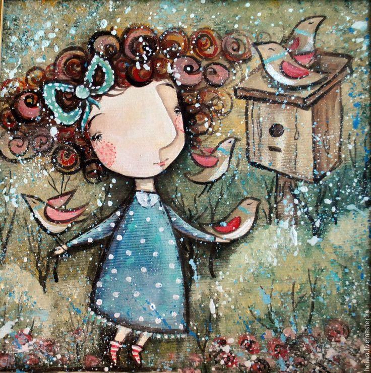 Купить Весна 2 ( репродукция) - девочка, весна, птицы, радость, печать на холсте