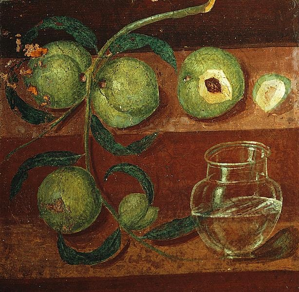Still life with peaches, detail of a Fourth Style wall painting, from Herculaneum, Italy, ca. 62–79
