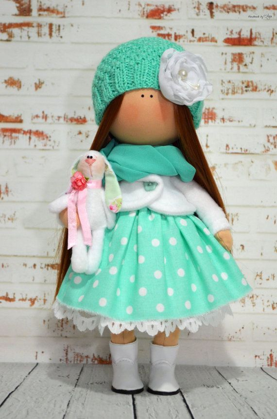 Vivid doll Interior doll Home doll Art doll handmade green white colors Tilda…