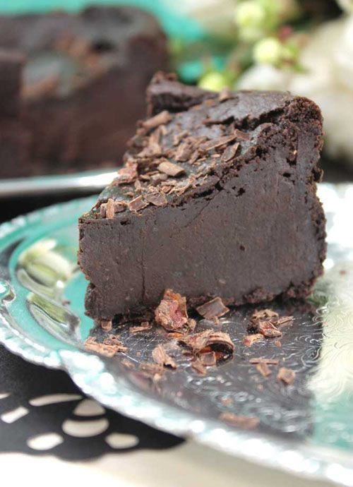 Gluten-free and dairy-free (and egg-free) Chocolate Decadence. Guess the secret ingredient.