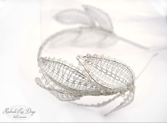 ♥ Rustic Bobbin Lace Wedding leaves tiara with Swarovski Crystal Elements. The Lace Head Piece can be worn multiple ways with multiple hair styles.    These wedding hair accessories are the perfect finishing touch for brides and bridesmaids ♥   Comfortable to wear and easy to style. __________________________________________________________________________________________  ________________________________________  All laces are my design - from the first step - drawing - choice of materials…