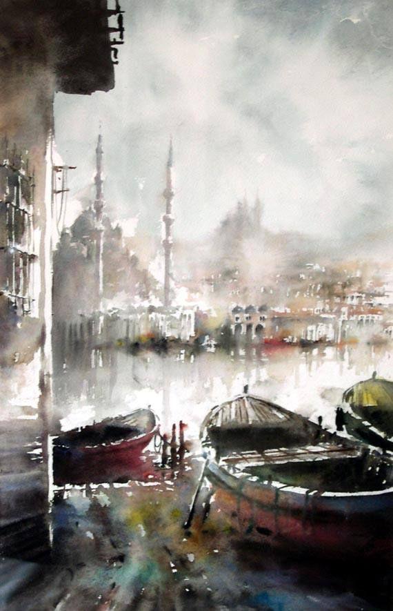 Işıl Özışık , watercolor artist - seriously I love these watercolors of Istanbul!