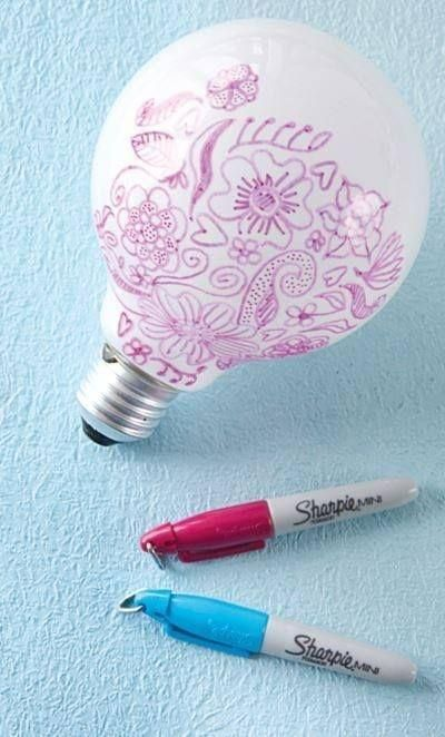 Does this work? Did you know if you draw on a lightbulb, that you can have really cute designs shine on your wall at night.. How adorable for a child's roo...