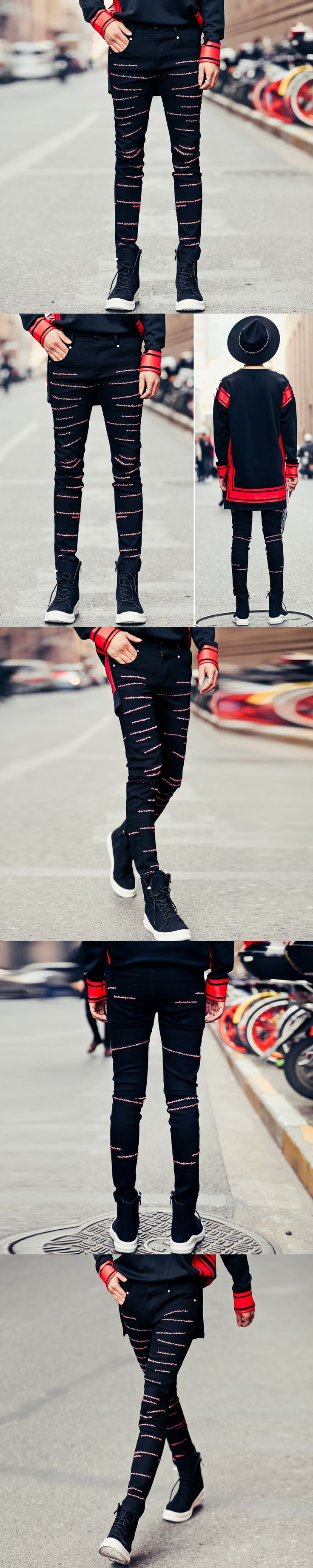 New 2017 Men's Clothing Personalized embroidery jeans Korean fashion night club youth trousers little pants singer costumes