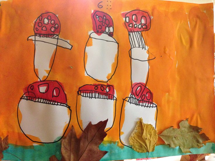 Herfst werkje voor groep 1. Evenveel tekenen als t aantal. Met stift en ecoline. Als t gedroogd is blaadjes erbij plakken. Autumn/fall craft. PreK and K1. Draw just as much as the number. With black marker and water coloring. And when it's dry, glue real leaves on the grass/moss.
