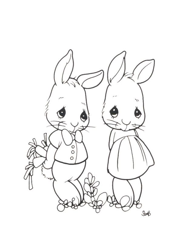 Rabbits - precious moments coloring pages | Coloring Pages