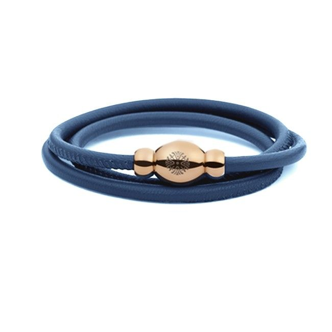 Bracciale Pelle Tender Qudo collection azzurro avio